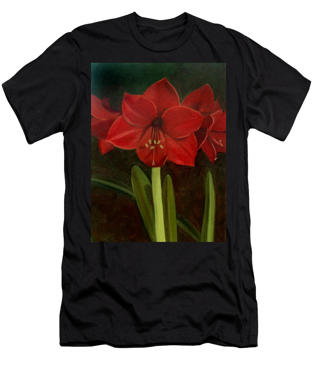 Amaryllis Men's T-Shirt (Athletic Fit) featuring the painting Amaryllis by Nancy Griswold