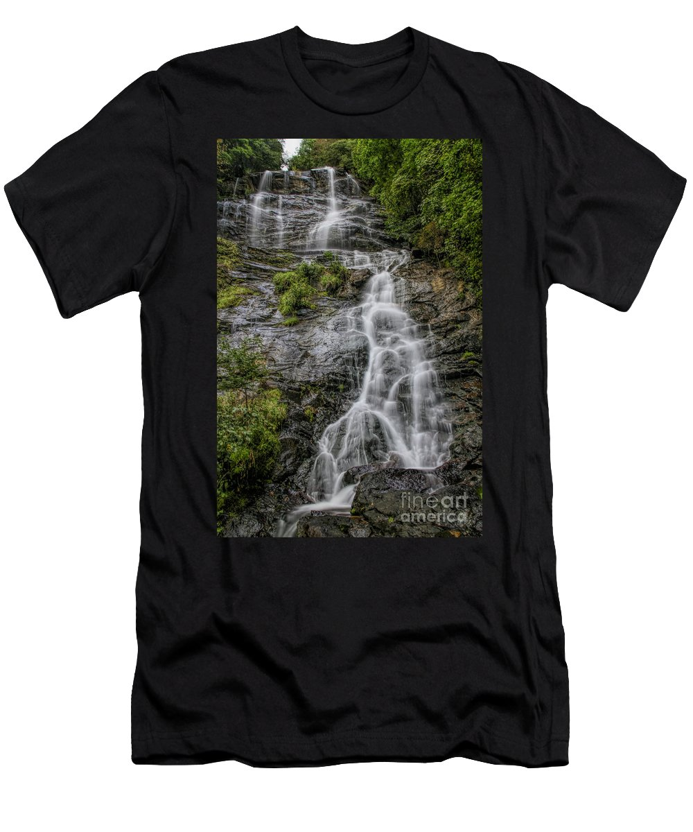 Amicola Falls Men's T-Shirt (Athletic Fit) featuring the photograph Amicola Falls by Barbara Bowen