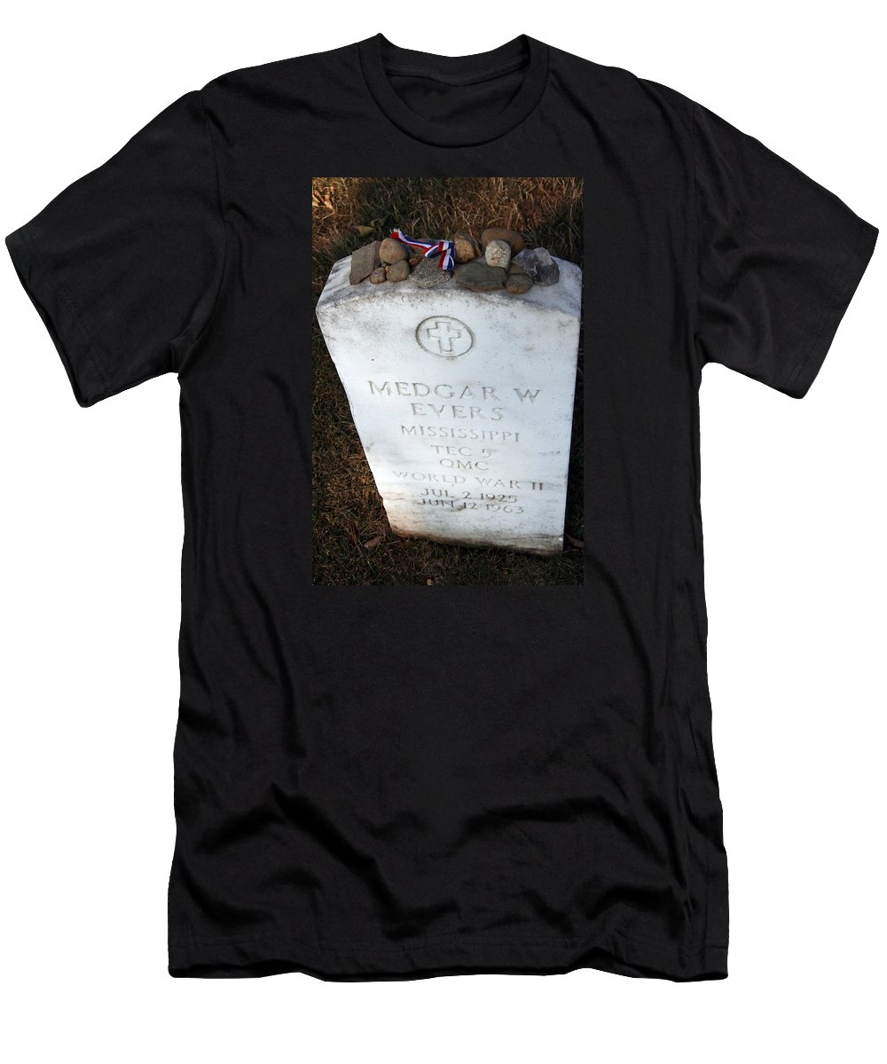 Black Men's T-Shirt (Athletic Fit) featuring the photograph Medgar Evers -- An Assassinated Veteran by Cora Wandel