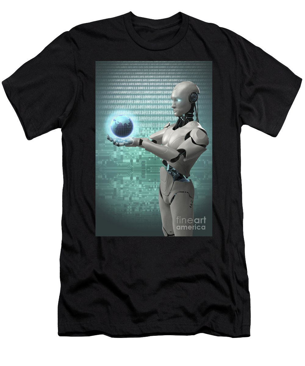 Artificial Intelligence Men's T-Shirt (Athletic Fit) featuring the photograph Android Holding Globe by Science Picture Co