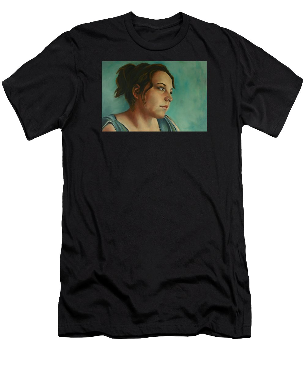 Girl Men's T-Shirt (Athletic Fit) featuring the painting Anja Daydreaming by Jolante Hesse