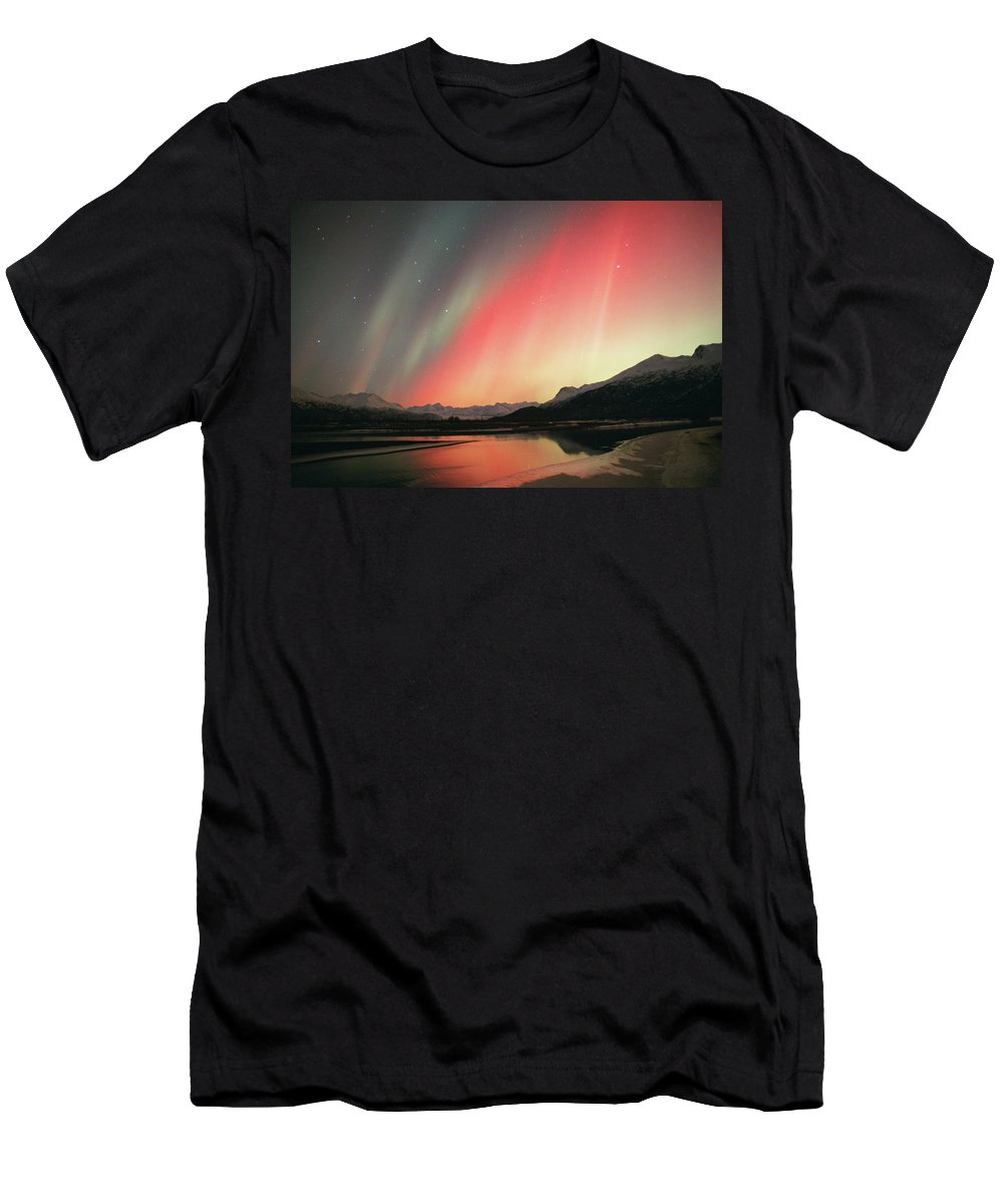 Alaska Men's T-Shirt (Athletic Fit) featuring the photograph Aurora Borealis Northern Lights by Cary Anderson