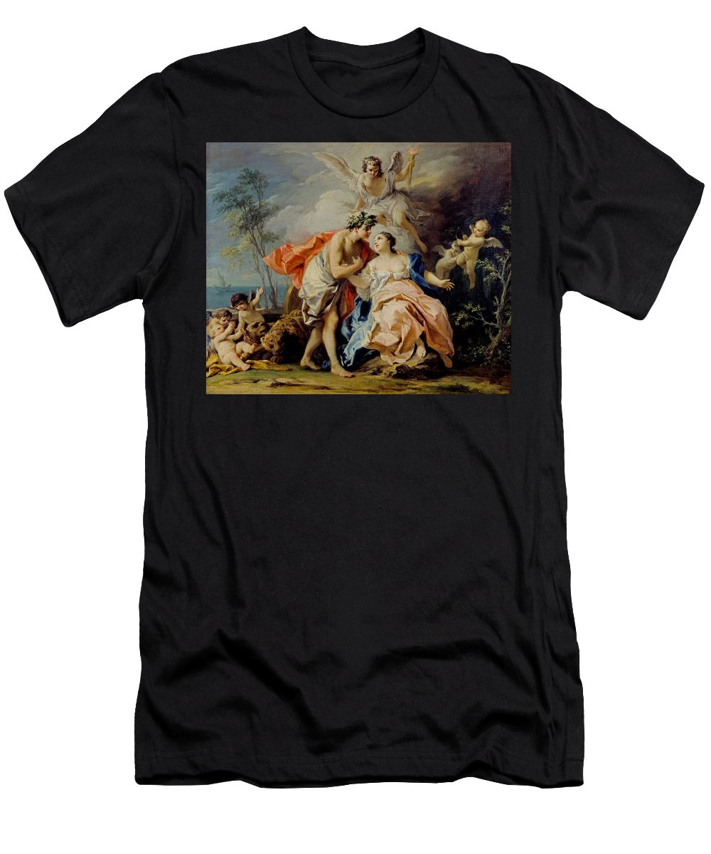 Jacopo Amigoni Men's T-Shirt (Athletic Fit) featuring the painting Bacchus And Ariadne by Jacopo Amigoni