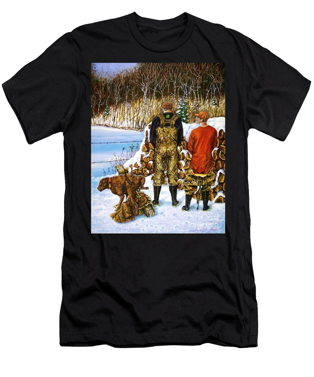 Hunters Men's T-Shirt (Athletic Fit) featuring the painting Behind The Wood Pile  by Linda Simon