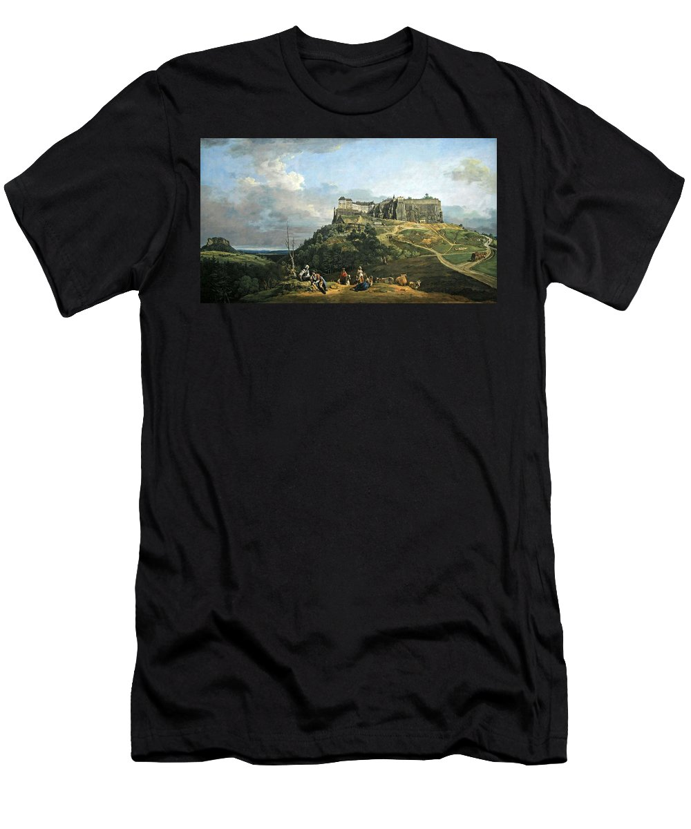 Fortress Men's T-Shirt (Athletic Fit) featuring the photograph Bellotto's The Fortress Of Konigstein by Cora Wandel
