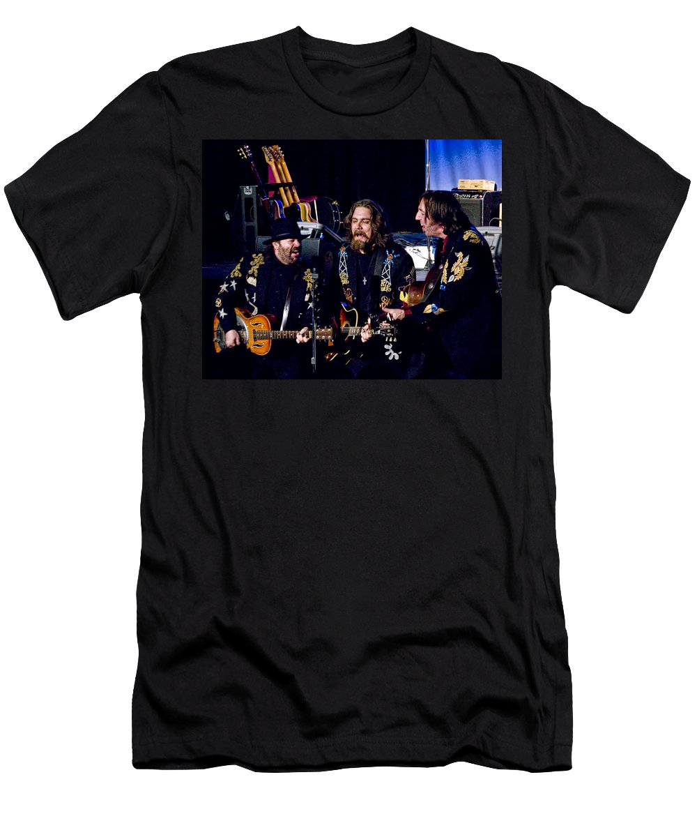 Art Men's T-Shirt (Athletic Fit) featuring the photograph Blackie And The Rodeo Kings by Randall Nyhof