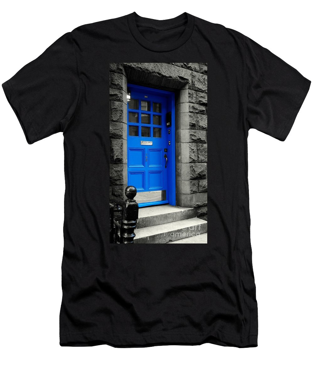 Blue Men's T-Shirt (Athletic Fit) featuring the photograph Blue Door by Lilliana Mendez