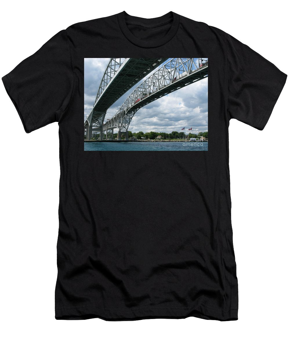 Bridge Men's T-Shirt (Athletic Fit) featuring the photograph Blue Water Crossing by Ann Horn