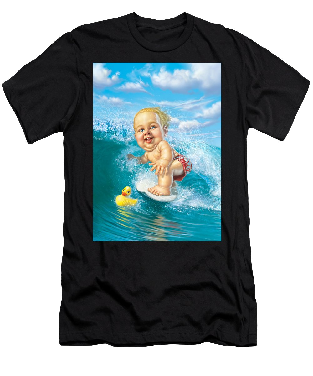 Baby Men's T-Shirt (Athletic Fit) featuring the digital art Born To Surf by Mark Fredrickson