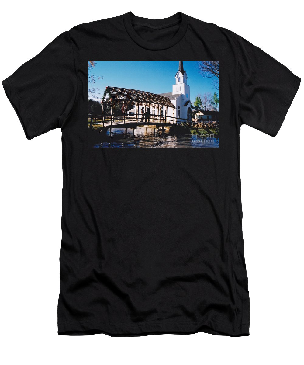 Church Men's T-Shirt (Athletic Fit) featuring the photograph Bridge Over Water by Michelle Powell
