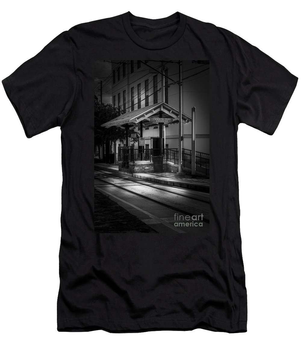 Trolley Station Men's T-Shirt (Athletic Fit) featuring the photograph Cadrecha Plaza Station by Marvin Spates