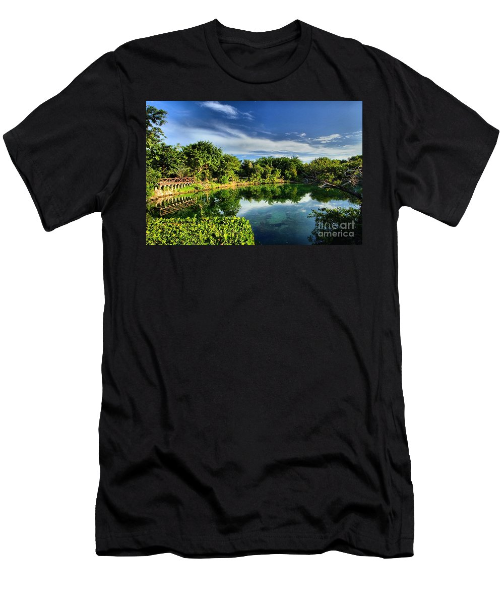 Chankanaab Men's T-Shirt (Athletic Fit) featuring the photograph Chankanaab Lagoon Reflections by Adam Jewell