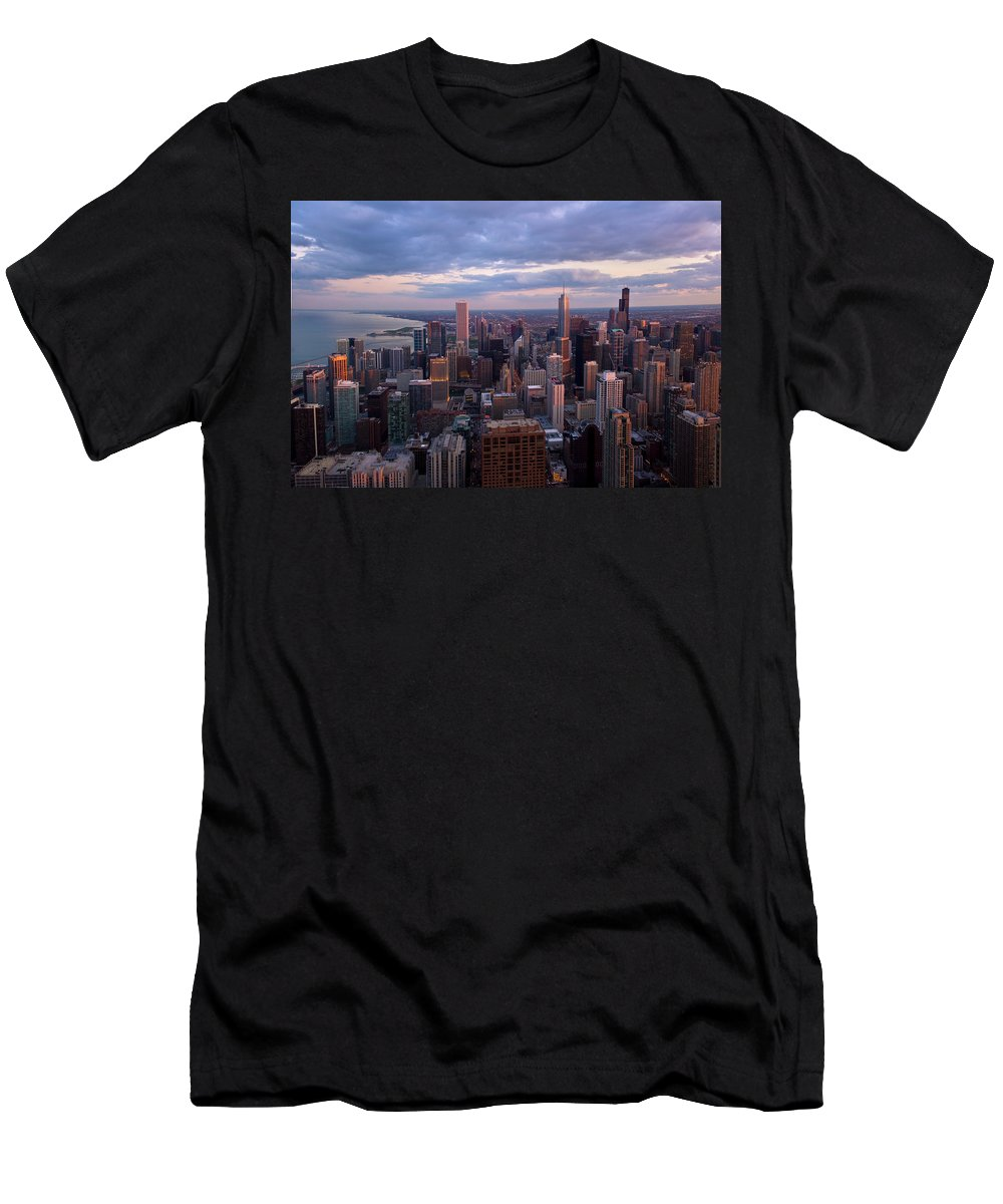 Architecture Men's T-Shirt (Athletic Fit) featuring the photograph Chicago Il. Skyline, May 2009 by Scott Goldsmith