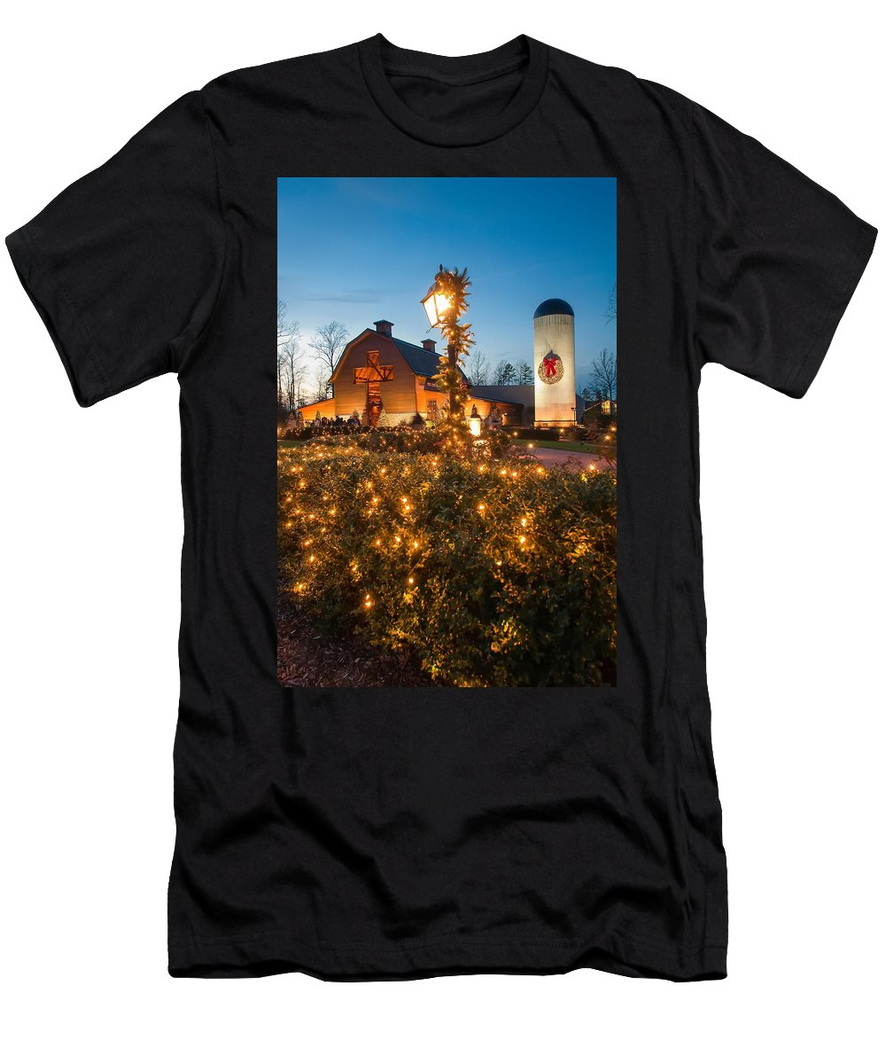 White Men's T-Shirt (Athletic Fit) featuring the photograph Christmas Village Decorations by Alex Grichenko