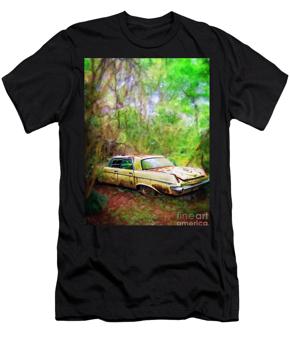 Chrysler Men's T-Shirt (Athletic Fit) featuring the mixed media Chrysler Imperial by Savannah Gibbs