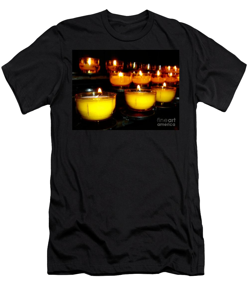 Holiday Men's T-Shirt (Athletic Fit) featuring the photograph Church Candles by Henrik Lehnerer