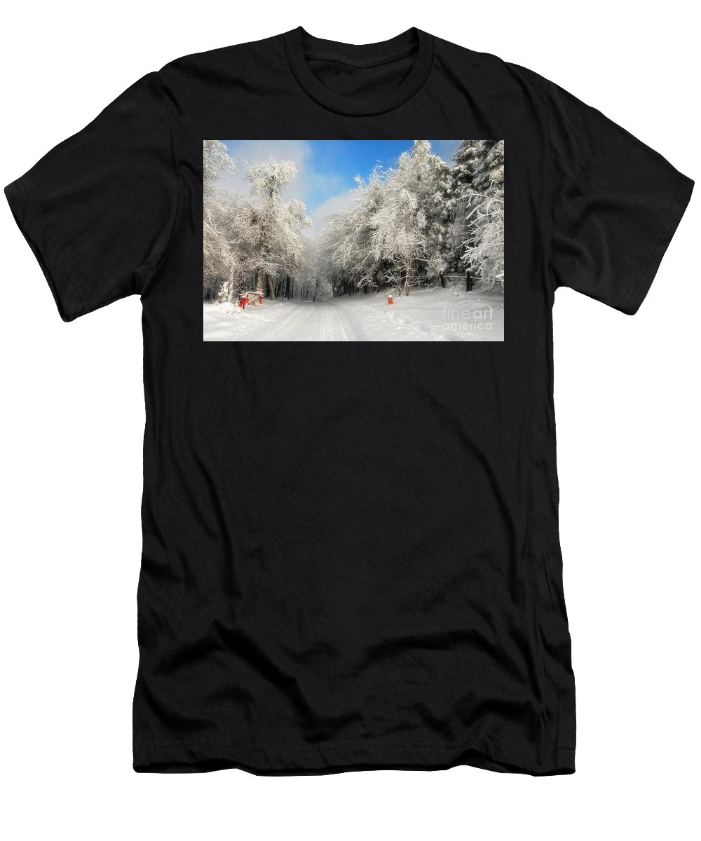 Snow Men's T-Shirt (Athletic Fit) featuring the photograph Clearing Skies by Lois Bryan