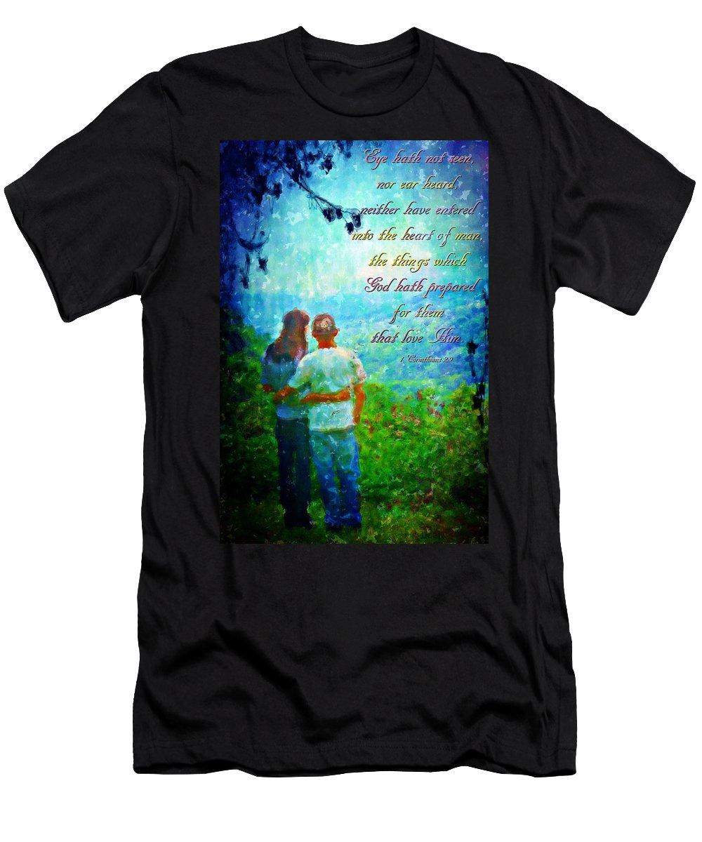 Jesus Men's T-Shirt (Athletic Fit) featuring the digital art 1 Corinthians 2 9 by Michelle Greene Wheeler
