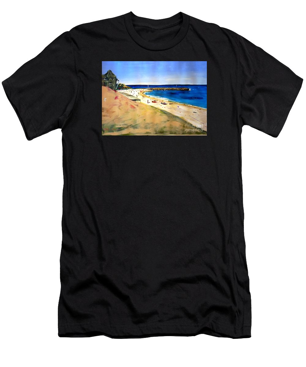 Cottesloe Men's T-Shirt (Athletic Fit) featuring the painting Cottesloe Beach by Therese Alcorn
