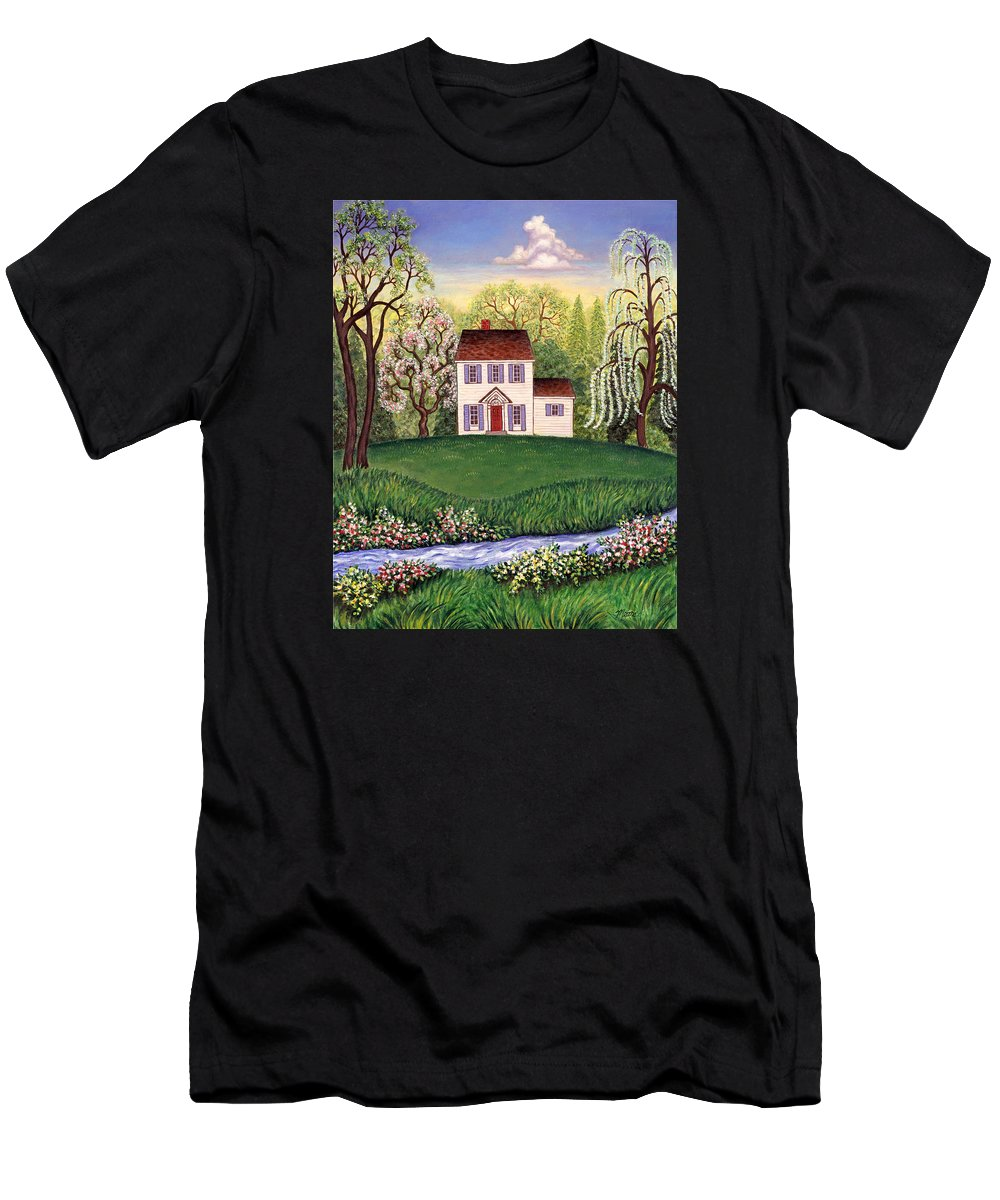 Landscape Men's T-Shirt (Athletic Fit) featuring the painting Country Home by Linda Mears