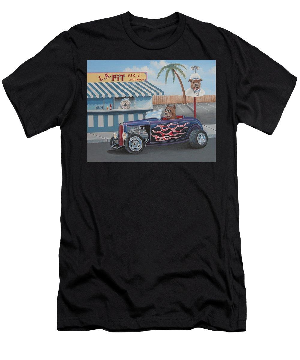 Car Men's T-Shirt (Athletic Fit) featuring the painting Cruizin' At Da L.a. Pit by Stuart Swartz