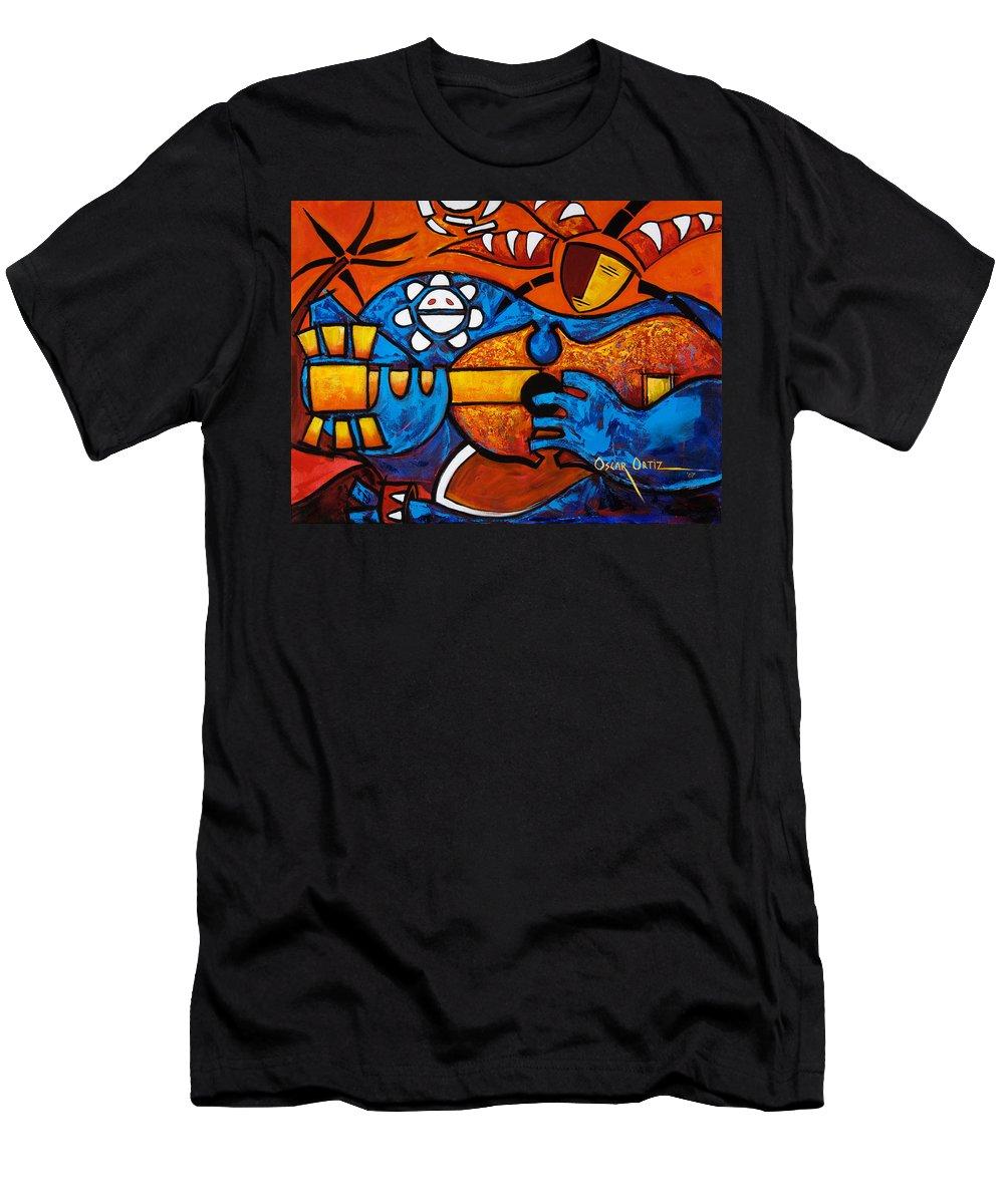 Puerto Rico Men's T-Shirt (Athletic Fit) featuring the painting Cuatro En Grande by Oscar Ortiz