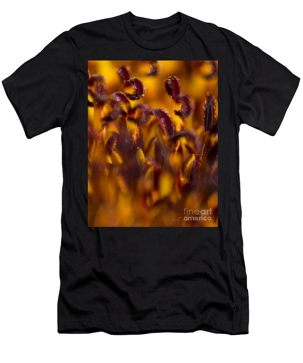 Dark Red Stamens Men's T-Shirt (Athletic Fit) featuring the photograph Bordeaux Red Stamens by Iris Richardson