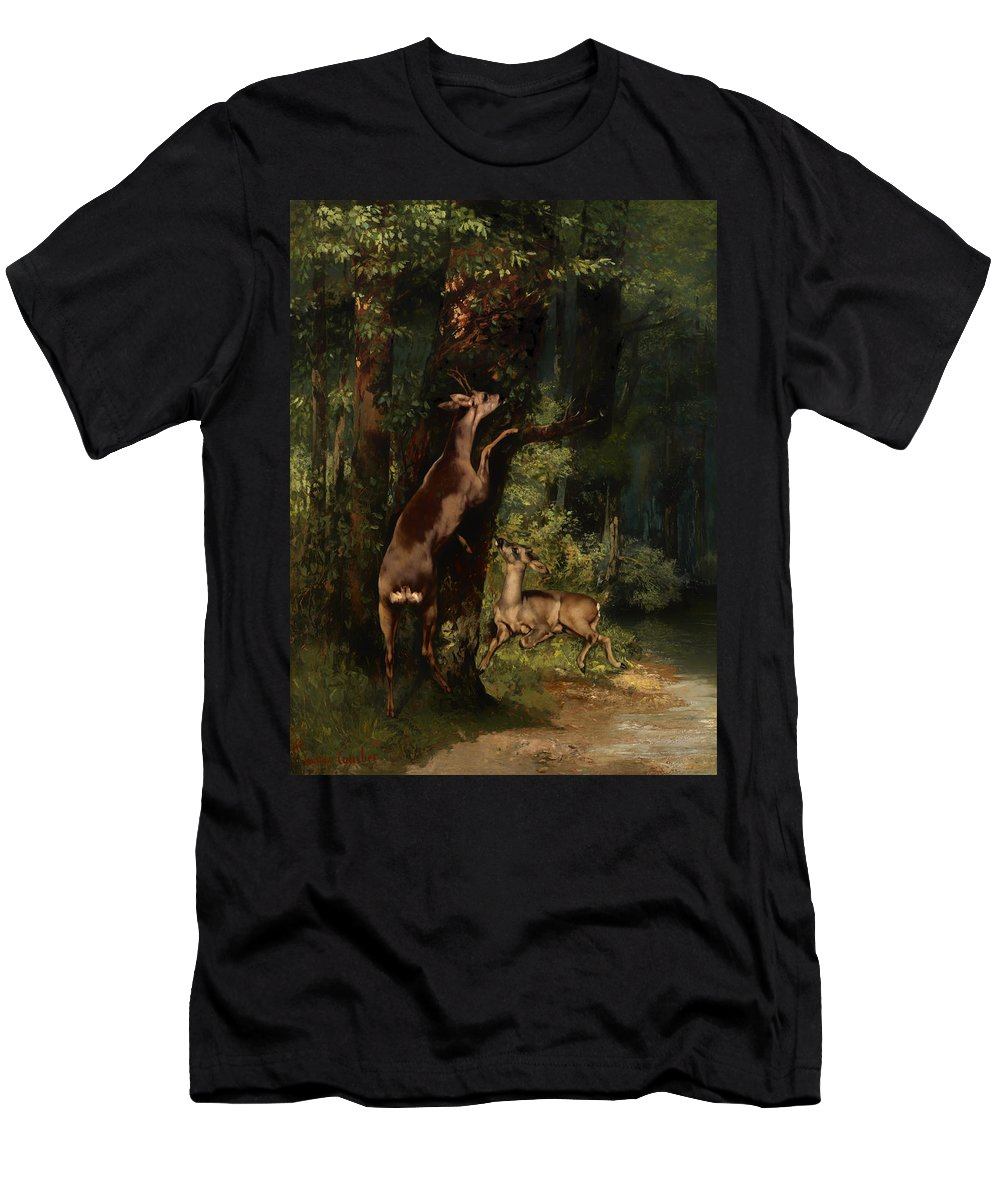 Painting Men's T-Shirt (Athletic Fit) featuring the painting Deer In The Forest by Mountain Dreams