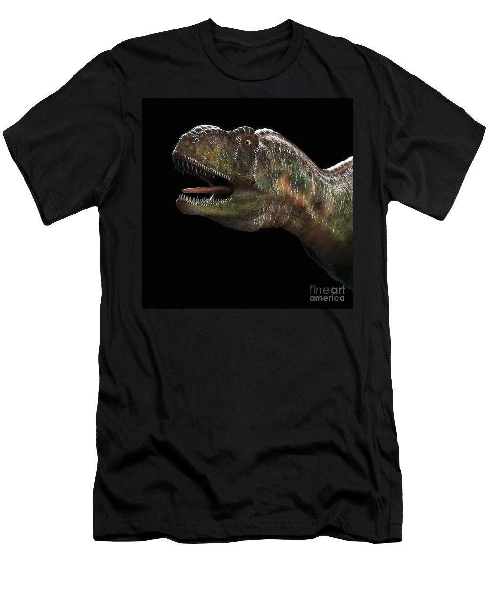 3d Visualization Men's T-Shirt (Athletic Fit) featuring the photograph Dinosaur Aucasaurus by Science Picture Co
