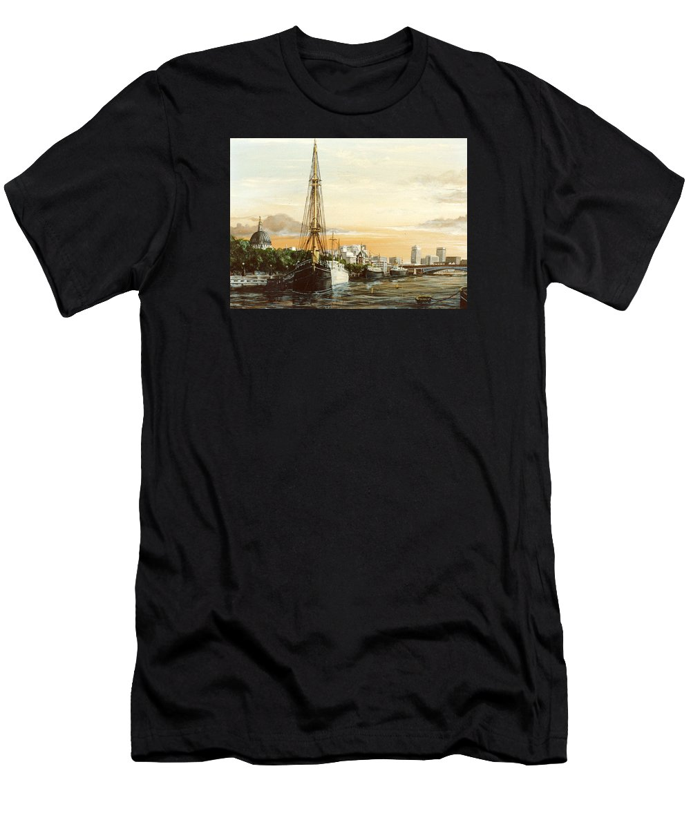Discovery Men's T-Shirt (Athletic Fit) featuring the painting Discovery On The Banks Of The River Thames London by Mackenzie Moulton