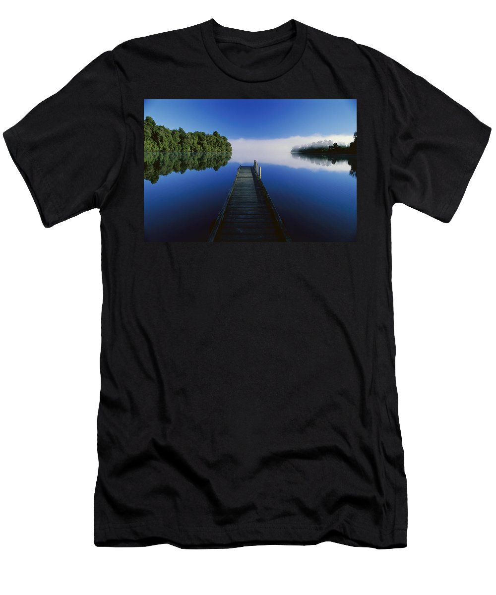 Feb0514 Men's T-Shirt (Athletic Fit) featuring the photograph Dock On Lake Mapourika by Andy Reisinger