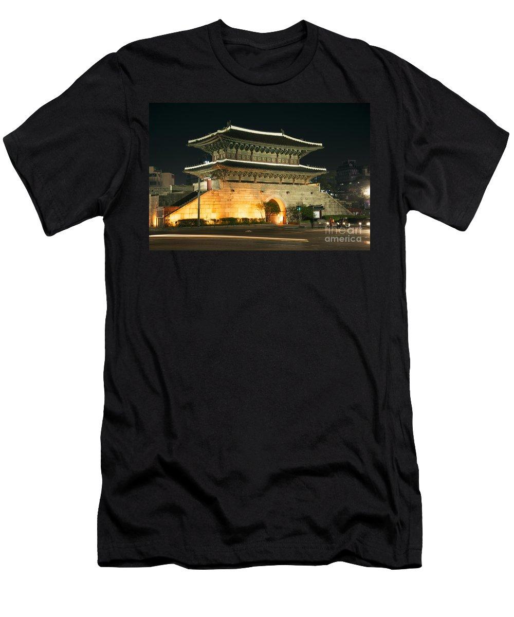Ancient Men's T-Shirt (Athletic Fit) featuring the photograph Dongdaemun Gate Landmark In Seoul South Korea by Jacek Malipan