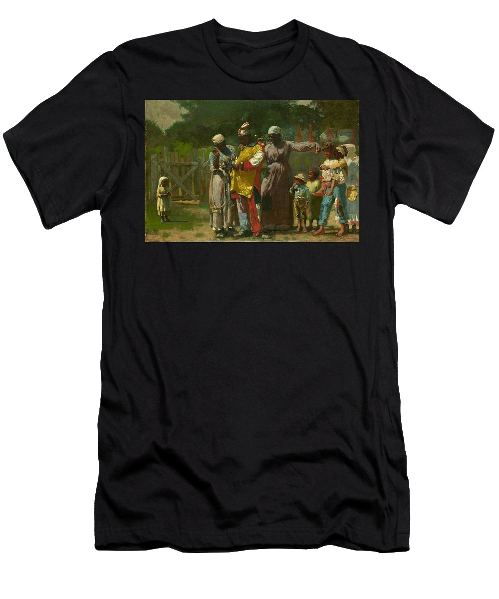 Winslow Homer Men's T-Shirt (Athletic Fit) featuring the painting Dressing For The Carnival by Winslow Homer