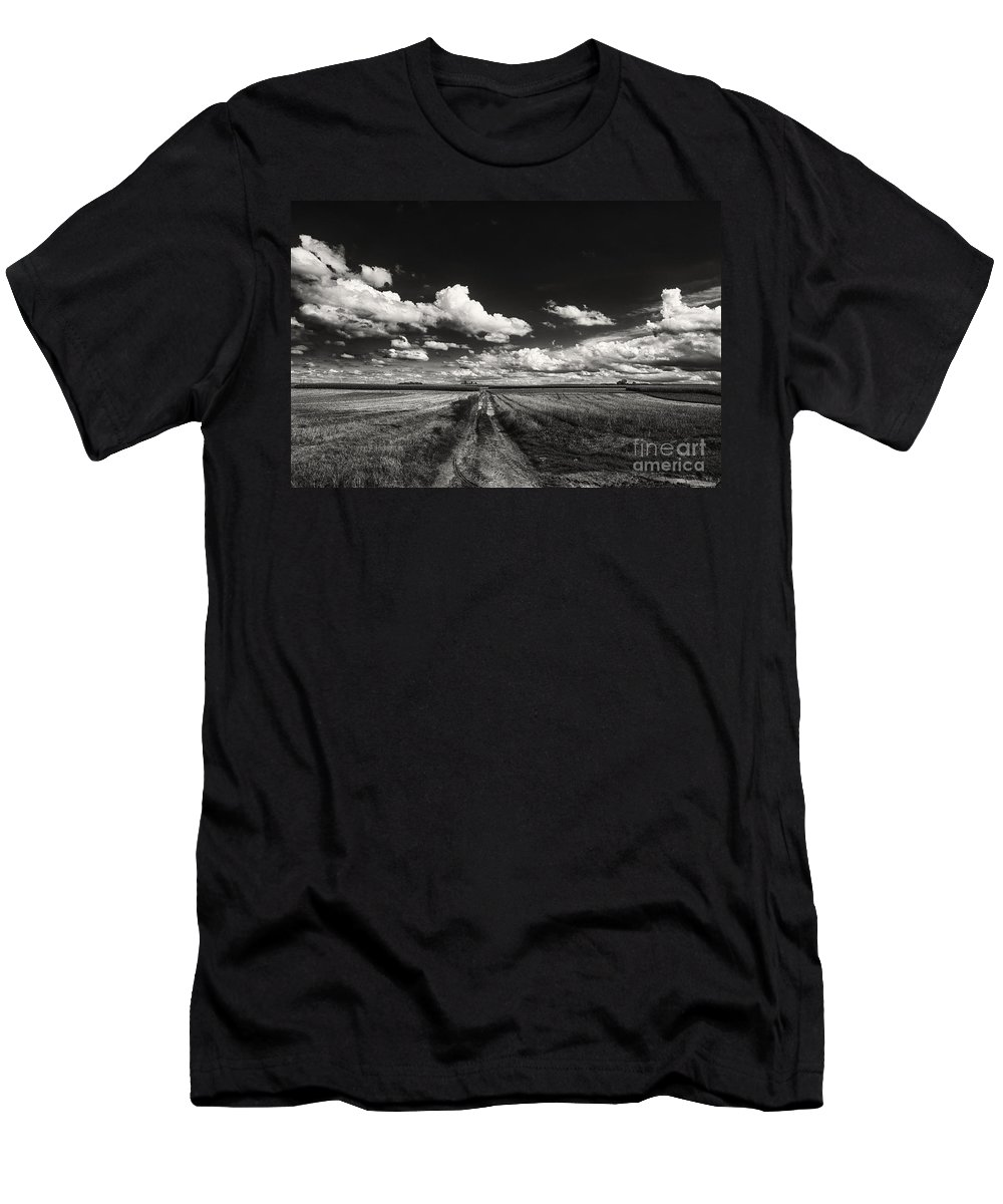 Blue Skies Landscape Men's T-Shirt (Athletic Fit) featuring the photograph Drifting Clouds by Brothers Beerens
