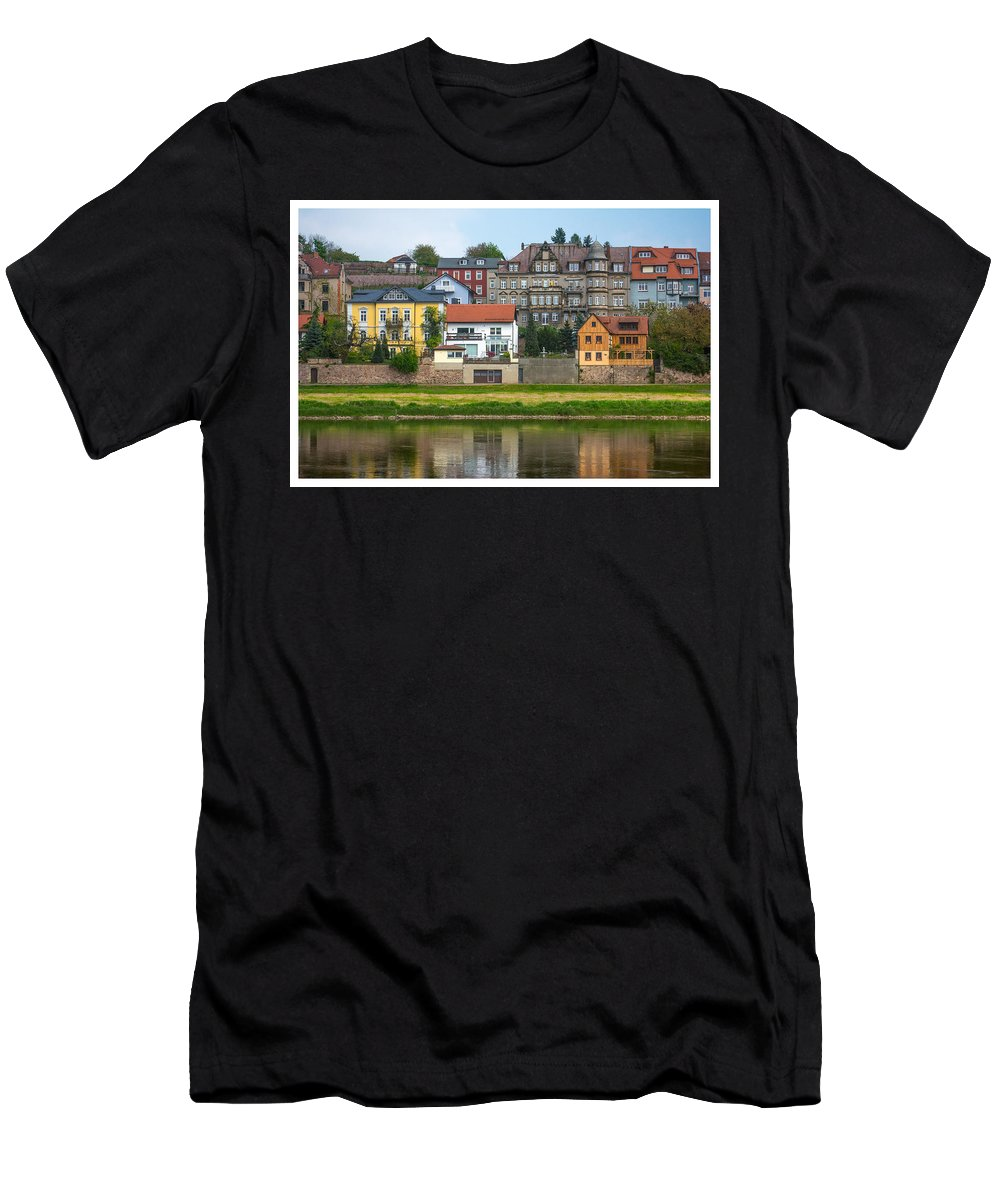 Luxury Men's T-Shirt (Athletic Fit) featuring the photograph Elbe River Town by Gene Norris