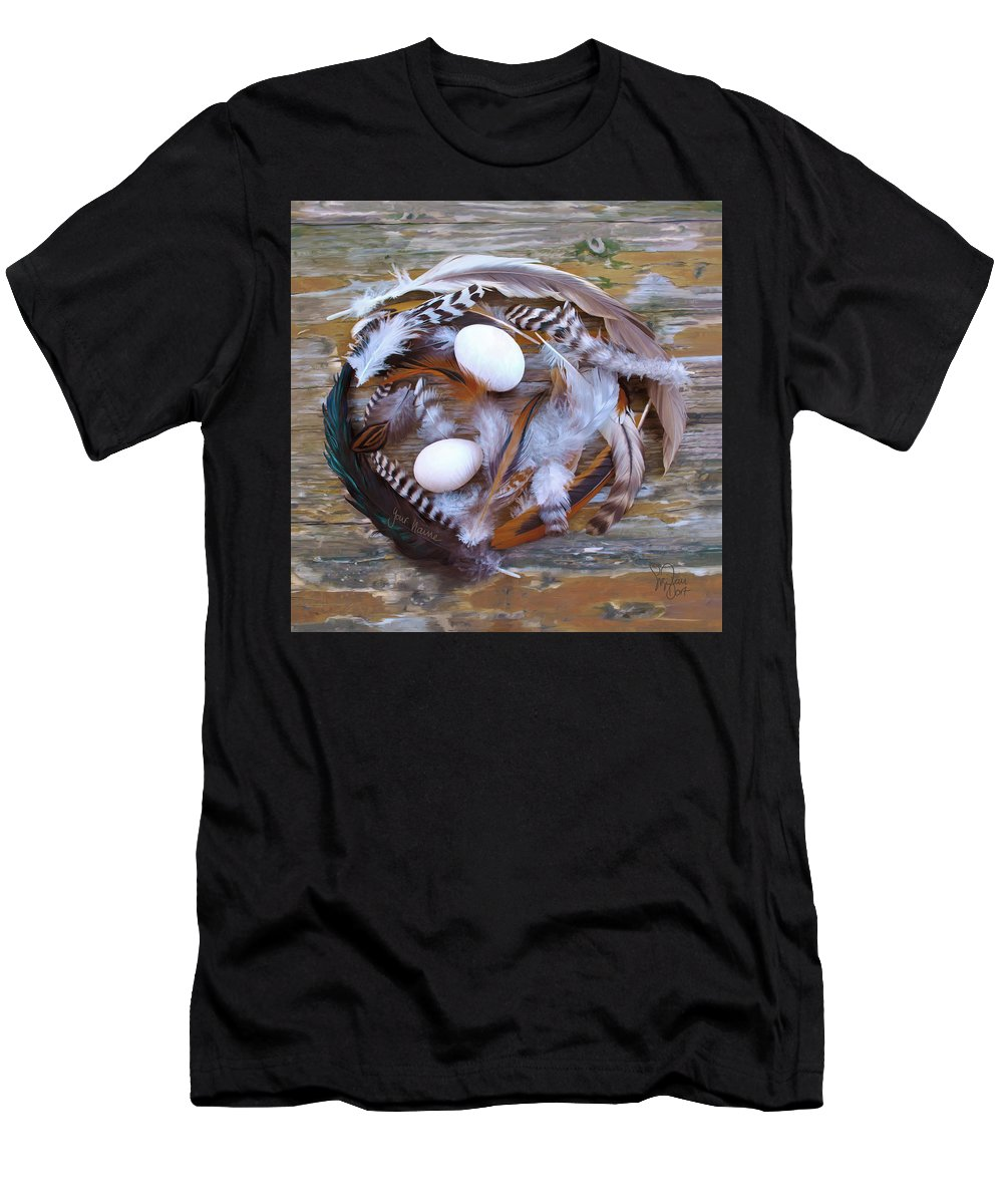 Poultry T-Shirt featuring the digital art 1. Feather wreath EXAMPLE by Sigrid Van Dort