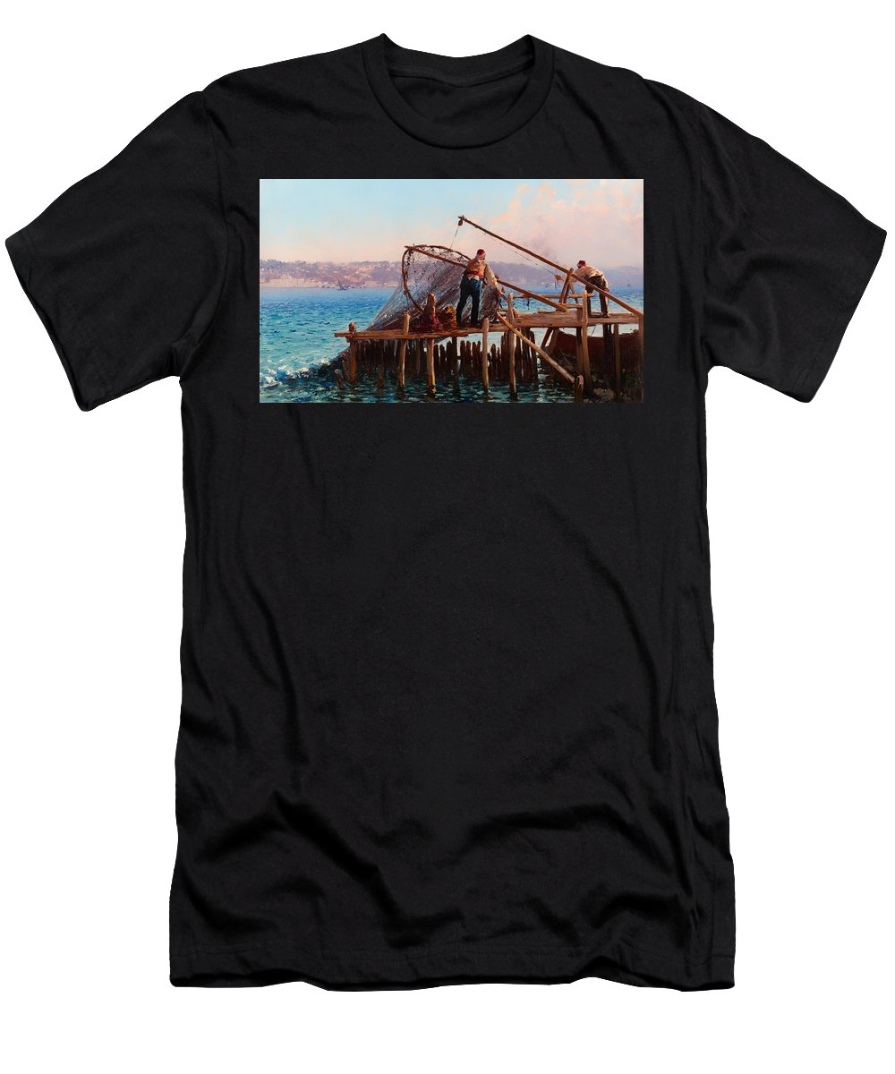 Painting Men's T-Shirt (Athletic Fit) featuring the painting Fishermen Bringing In The Catch by Mountain Dreams