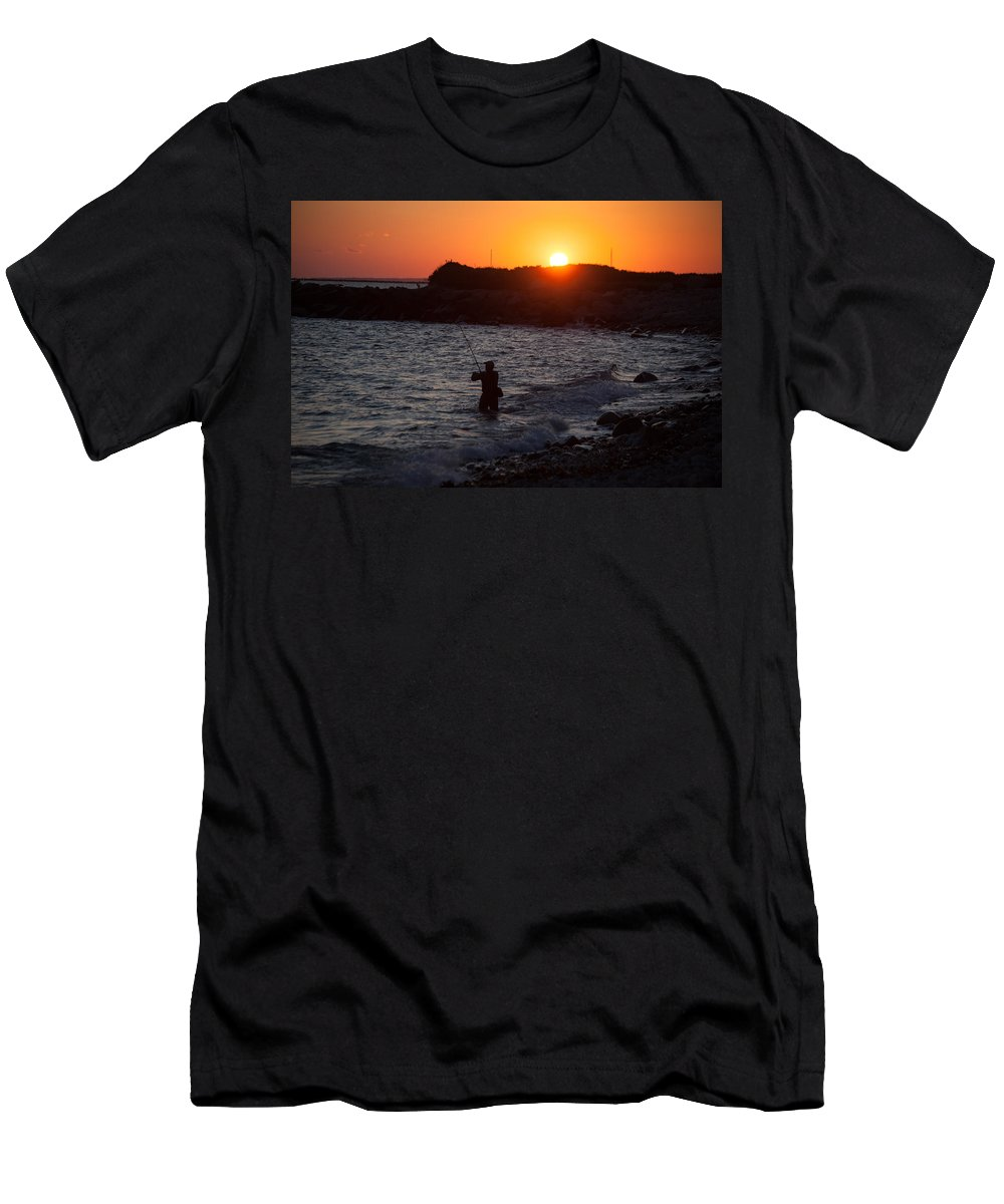 Fishing At Sunset Men's T-Shirt (Athletic Fit) featuring the photograph Fishing At Sunset by Karol Livote