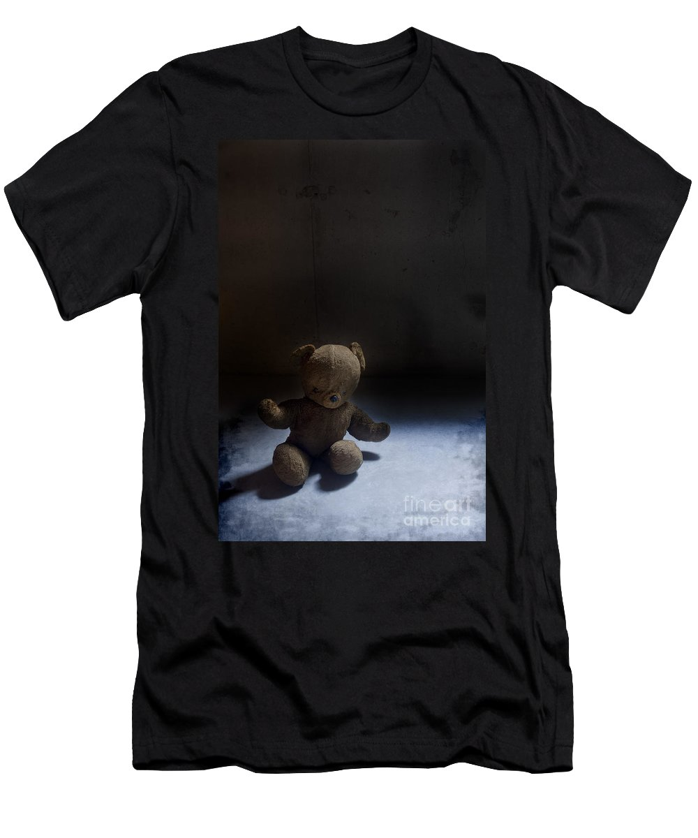 Teddy Bear; Bear; Toy; Sitting; Old; Vintage; Brown; Dirty; Plush; Floor; Cement; Alone; Desolate; Lost; Creepy; Mysterious; Depression; Youth; Shadow; Dark; Childhood Men's T-Shirt (Athletic Fit) featuring the photograph Forgotten by Margie Hurwich