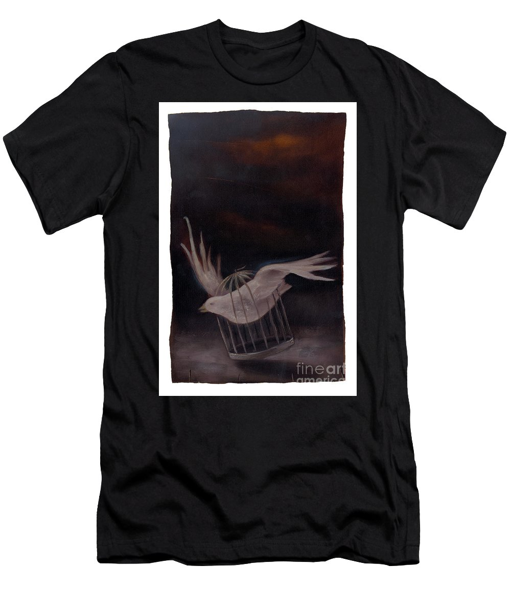 Bird Men's T-Shirt (Athletic Fit) featuring the painting Freedom-2 by Chris Van Es