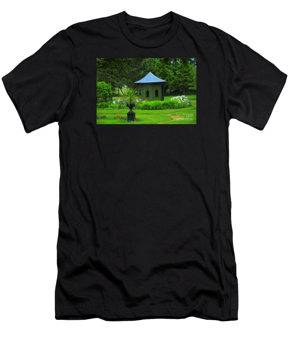 Gazebo Men's T-Shirt (Athletic Fit) featuring the photograph Gazebo In The Garden by Kathleen Struckle