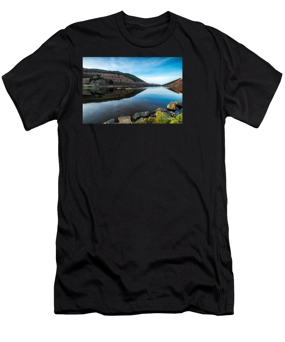 Lake Men's T-Shirt (Athletic Fit) featuring the photograph Geirionydd Lake by Adrian Evans