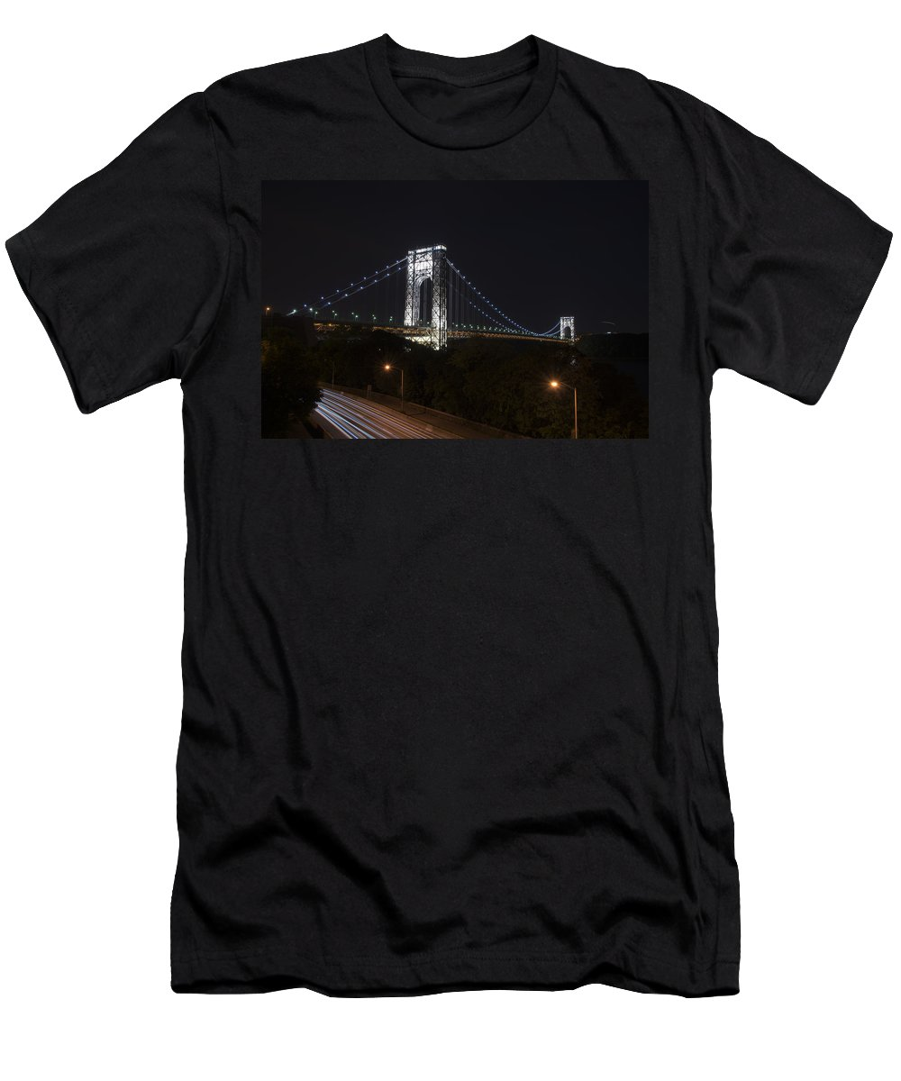 Gwb Men's T-Shirt (Athletic Fit) featuring the photograph George Washington Bridge - Memorial Day 2013 by Theodore Jones