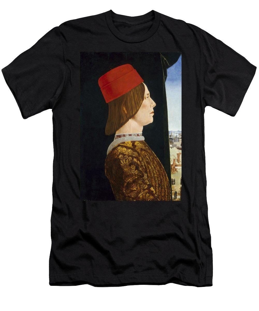 Profile; Portrait; Nobleman; Male; Early; Renaissance Men's T-Shirt (Athletic Fit) featuring the painting Giovanni II Bentivoglio by Ercole de Roberti