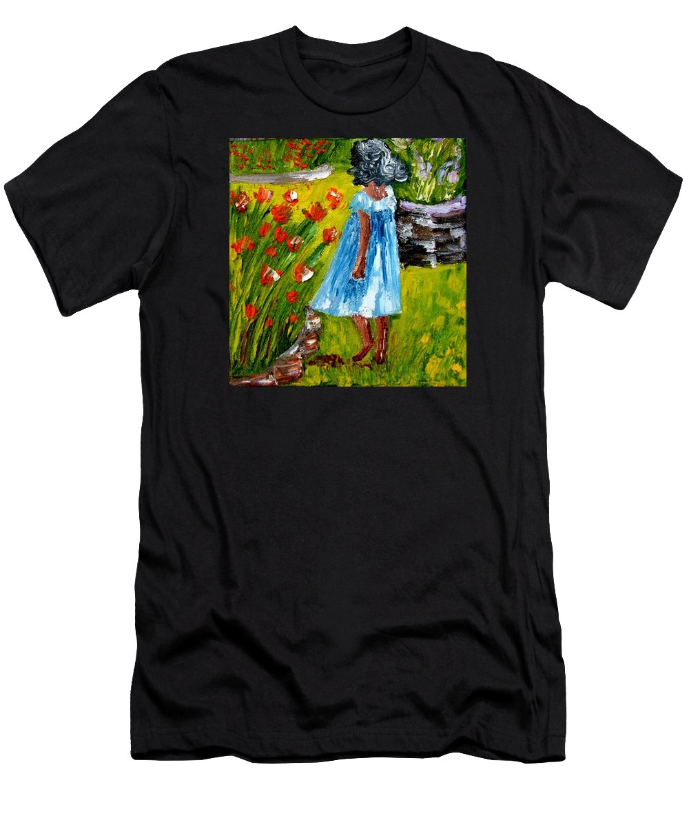 Painting Men's T-Shirt (Athletic Fit) featuring the painting Girl In The Garden by Inna Montano