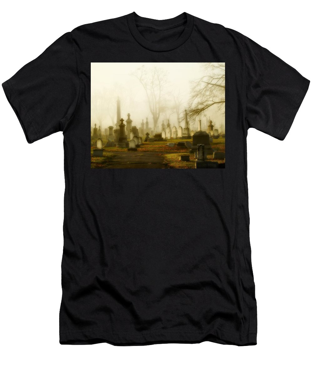 Fog Men's T-Shirt (Athletic Fit) featuring the photograph Gothic Autumn Morning by Gothicrow Images