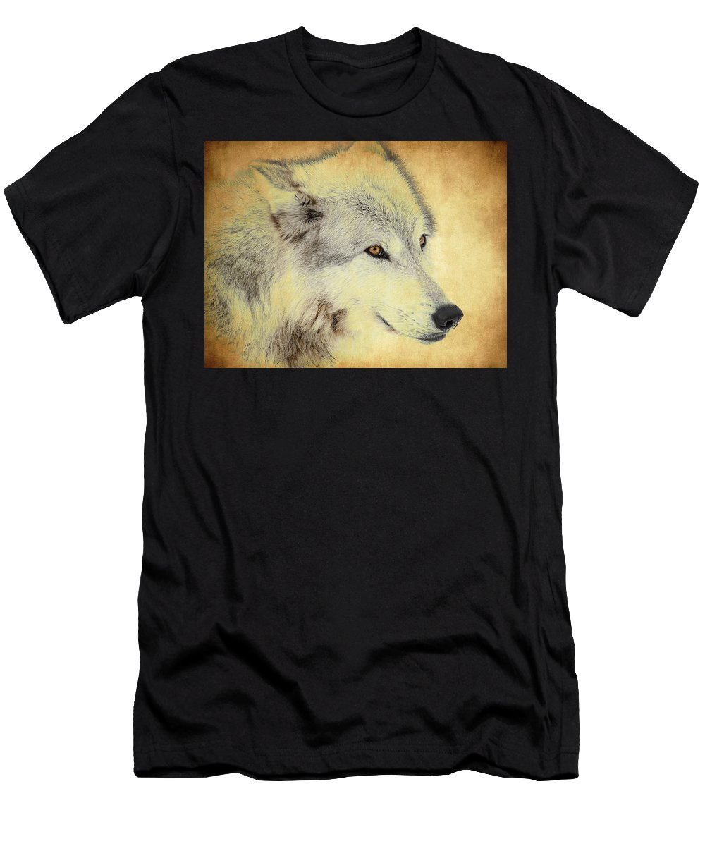 Wolf Men's T-Shirt (Athletic Fit) featuring the photograph Grey Wolf Art by Steve McKinzie
