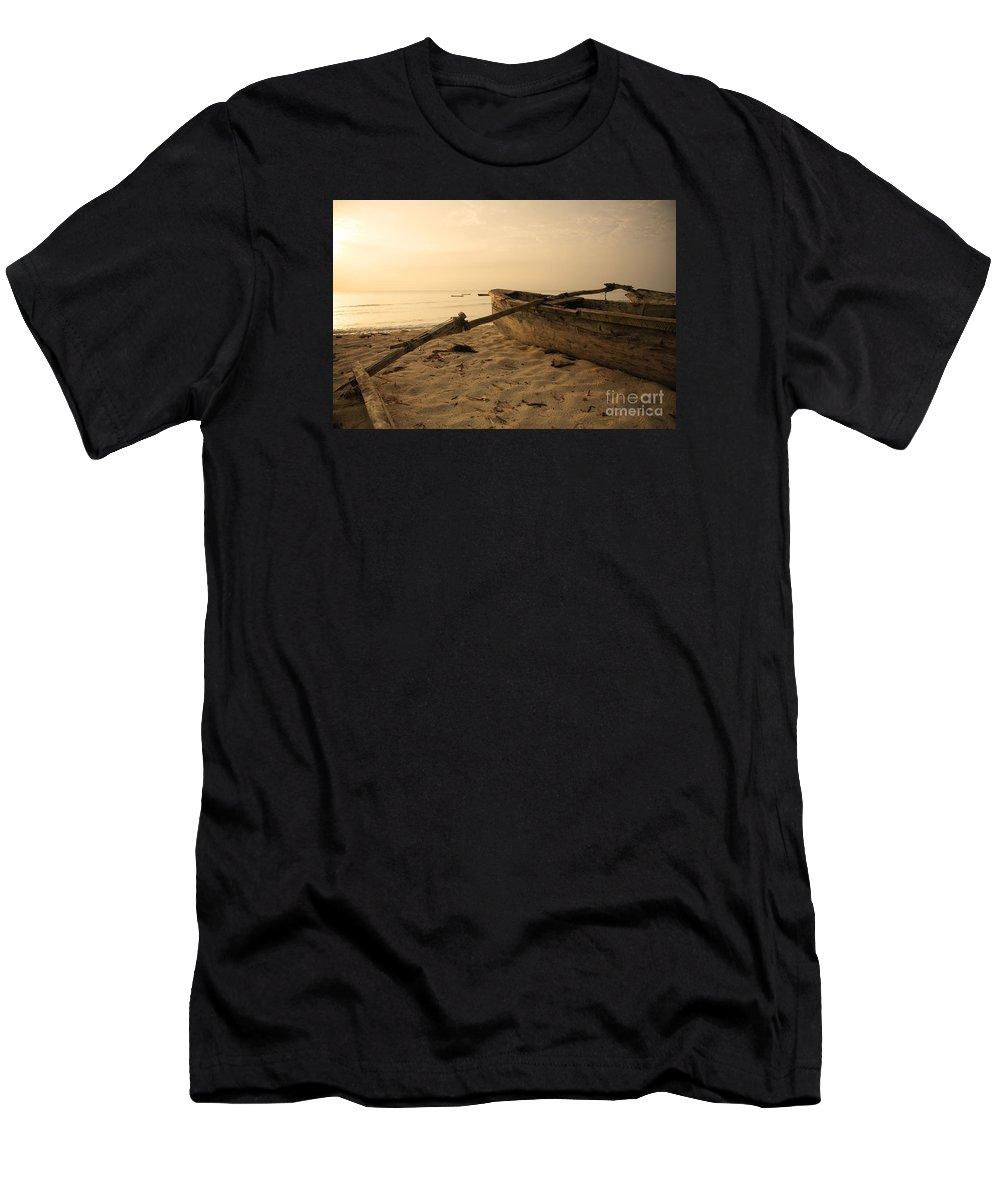 Africa Men's T-Shirt (Athletic Fit) featuring the photograph Hand Built Catamaran by Deborah Benbrook
