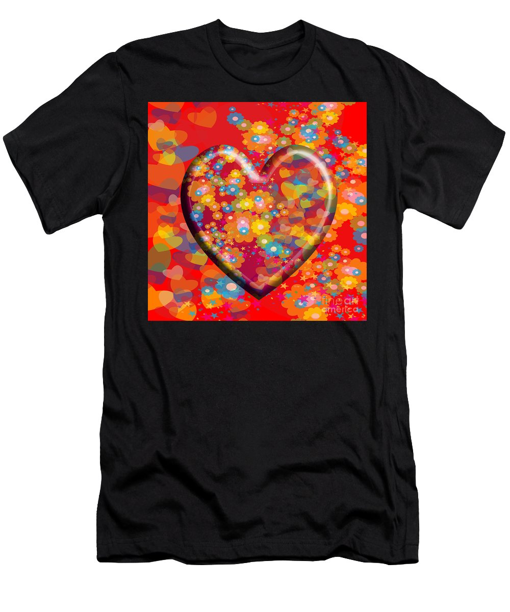 Hearts Men's T-Shirt (Athletic Fit) featuring the painting Hearts And Flowers by Neil Finnemore
