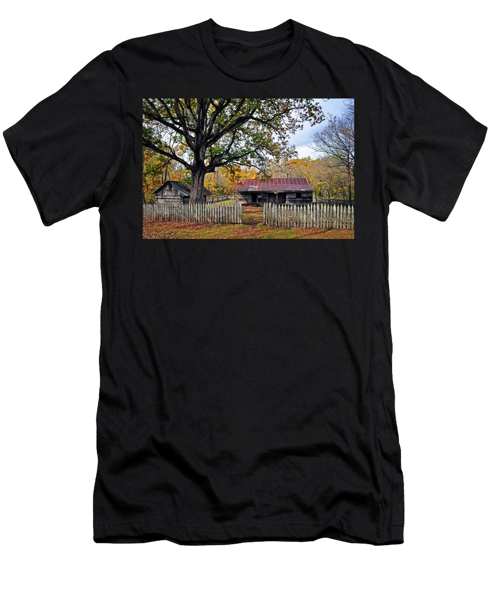 Landscape Men's T-Shirt (Athletic Fit) featuring the photograph Homestead On The Buffalo by Marty Koch